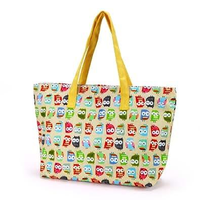 Anladia - Bolso shopping Grande con Estampados búho Talla XL Bolso de Lona para playa