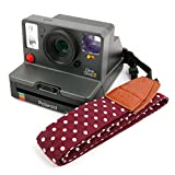 Stylish Anti-Slip Polka Dot Carry Strap with Faux Leather Detail for the Polaroid Originals OneStep 2 i-Type Camera - by DURAGADGET