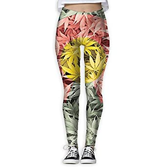 Mipu Shangmao colorful Colorado Flag and Cannabis Leaf Women's Yoga Trousers Color Print Training Leggings