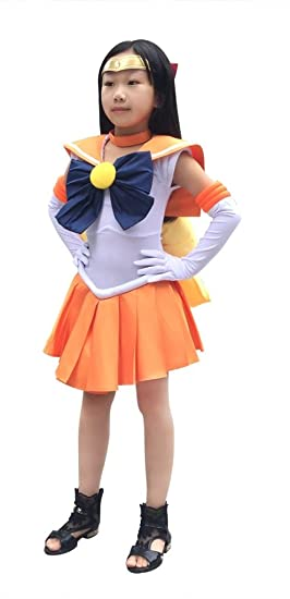 47ebbc6a6c7 Amazon.com  DAZCOS Girls Kids Size Sailor Venus Minako Aino Cosplay Costume Dress  Orange  Clothing