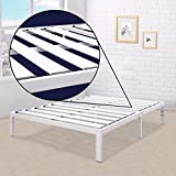Best Price Mattress California King Bed Frame - 14 Inch Metal Platform Beds [Model E] w/ Steel Slat Support (No Box Spring Needed), White