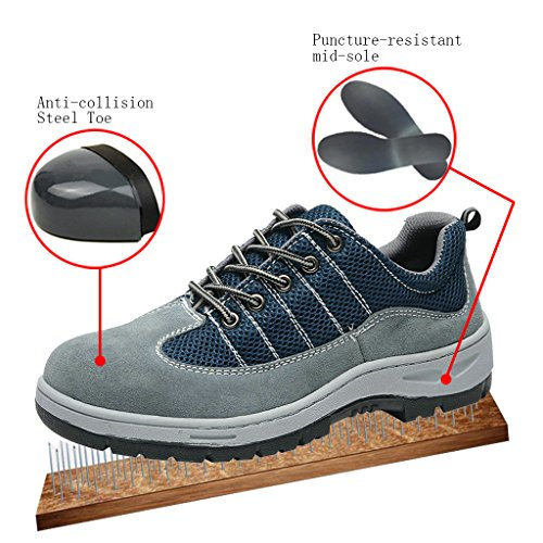 Steel Comp Blue Work Shoes Men's Shoes Safety Ventilate Toe Shoes Optimal XBSYOqwvx