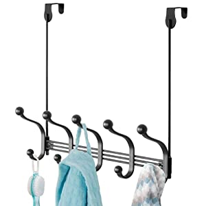 mDesign Decorative Over Door or Wall Mount 10 Hook Metal Storage Organizer Rack for Coats, Hoodies, Hats, Scarves, Purses, Leashes, Bath Towels & Robes - Black