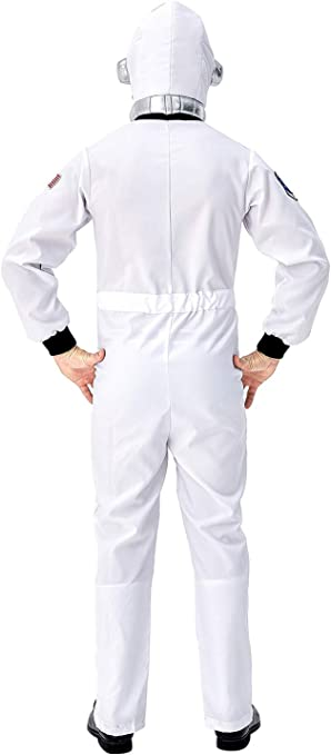 helymore Halloween Hommes Costume de Jeu de Role dastronaute Spaceman Uniform Combinaison Occupations Spatiales Costume de lespace Blanc//Jaune