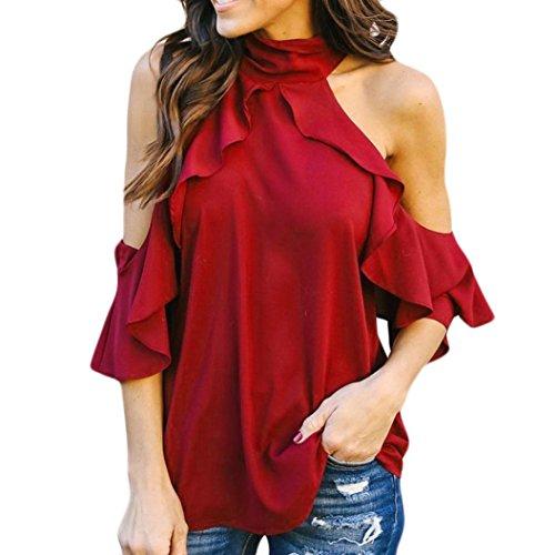 NEWONESUN Clearance!!Women Solid Halter Short Sleeve Tops Ruffles Cold Shoulder T-Shirt Blouse ()