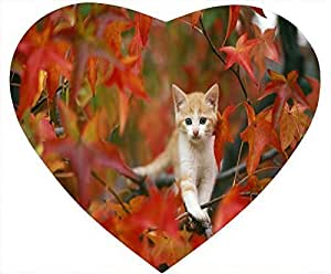 Cat Nonskid Heart Shaped Mouse Pad - The Cat Is Hiking Through the Woods