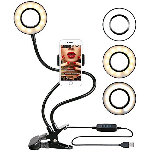 Ring Light with Stand for Live Stream, Dimmable[3-Light Mode][9-Level Brightness] Clamp on Gooseneck Cell Phone Stand with Selfie Ring Light for Youtube, Facebook, iphone 7,6/plus,Samsung,HTC,HUAWEI (Panel Bed Time Free)
