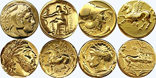 Golden Artifacts Alexander, Pegasus, Zeus, Arethusa, Greek Coins, Collectible Coin Sets, Greek Mythology (1SET-G)