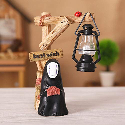 Kimkoala Spirited Away Figures, Cute Studio Ghibli Miyazaki No Face Man with Night Lamp Light Action Figure Toys for Children Gift for Home Garden Decoration (Knitting)