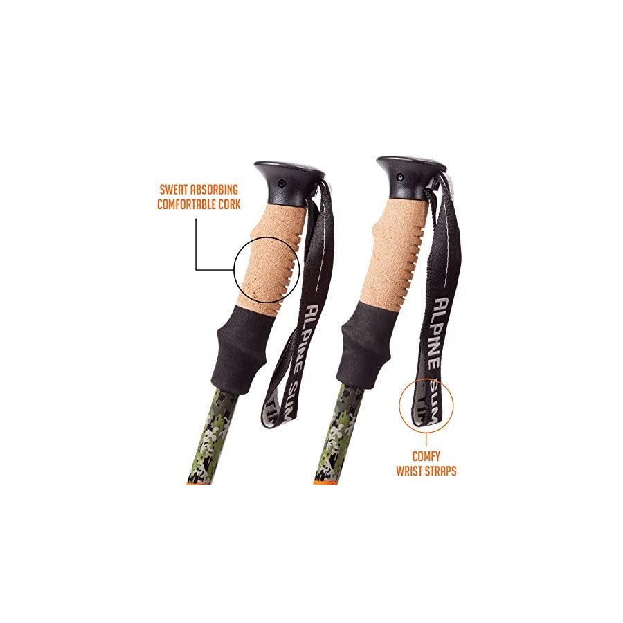 Alpine Summit Trekking Poles [ Pair ] Collapsible Hiking / Walking Sticks, Tungsten Tips, Ultralight, Cork Grips, Flip Locks