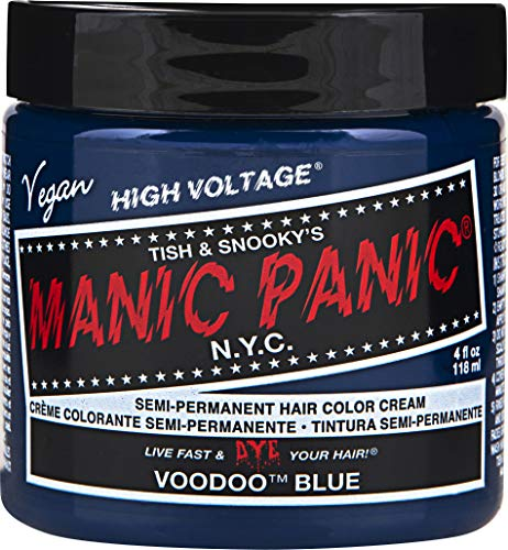 Manic Panic Voodoo Blue Color Cream - Classic High Voltage - Semi-Permanent Hair Dye - Vivid, Blue Shade - For Dark, Light Hair - Vegan, PPD & Ammonia-Free - Ready-to-Use, No-Mix Coloring ()