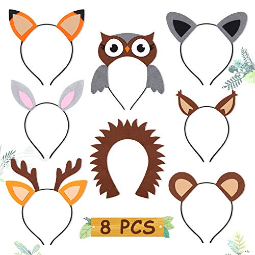 CiyvoLyeen Woodland Animal Headbands Wild One Camping Forest Theme Felt Ears Headbands for Woodland Animal Theme Baby Shower Birthday Party Favors Kids Adults Cosplay Apparel Party Supplies Set of 8 (Baby Headband Felt)