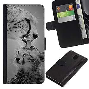 LASTONE PHONE CASE / Lujo Billetera de Cuero Caso del tirón Titular de la tarjeta Flip Carcasa Funda para Samsung Galaxy Note 3 III N9000 N9002 N9005 / cub leopard big cat black white nature