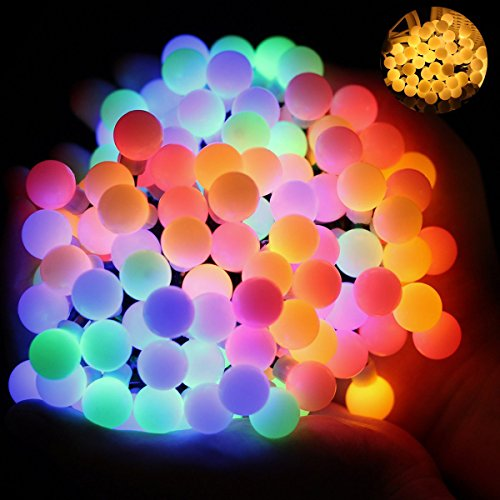 Ball Fairy Lights, OMGAI 17Ft 60 LED Waterproof Color Changing Globe String Lights for Outdoor, Home, Garden, Patio, Wedding, Party, Fence, Christmas Tree Decoration, Warm White and Multi-Color (Party City Lanterns)