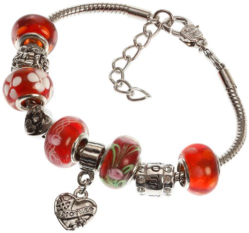 """Mother's Charm Bracelet with Removable Pandora Compatible Italian Murano Glass Beads for Moms in Red, 7"""" + 1"""" Extender"""