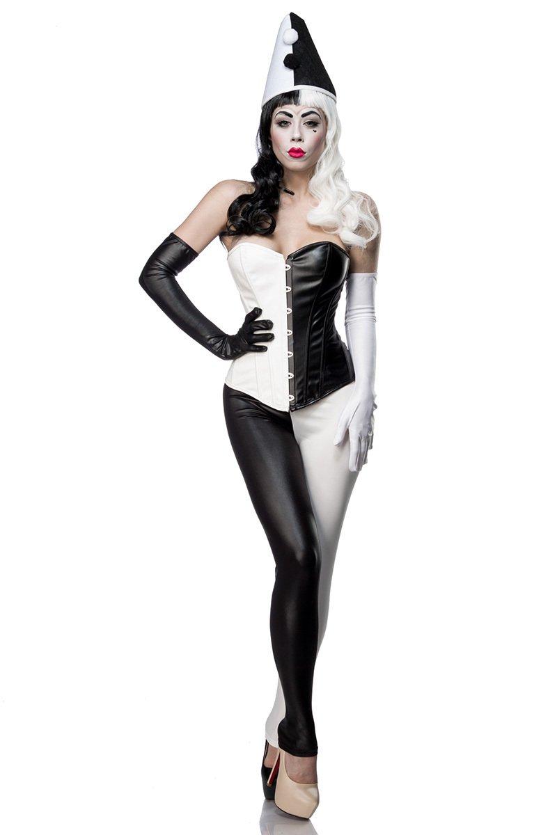 Damen Harlekin Corsage Kostüm Verkleidung mit Corsage, Leggings, Handschuhe in Wetlook schwarz weiß inklusive Hut XL