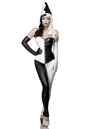 Ladies Harlequin Corsage Costume Dress with Corsage Leggings Gloves Wet Look Black White with Hat Amazon.co.uk Clothing  sc 1 st  Amazon UK & Ladies Harlequin Corsage Costume Dress with Corsage Leggings ...