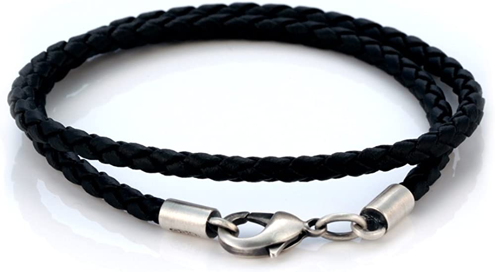 Bico 4mm (0.16 inch) Black Braided Necklace (CL14 Black)