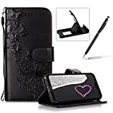 Wallet Leather Case for Huawei P20 Lite,Strap Leather Cover for Huawei P20 Lite,Herzzer Premium Elegant Black Dandelion Butterfly Printed Magnetic Foldable Full Body Folio Pu Leather Soft Inner Stand Cover with Card Slots