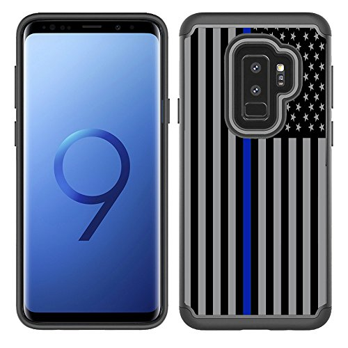(Corpcase - Hybrid Case for Galaxy S9 - Thin Blue Line USA  Police Flag / Unique Case With Great Protection)