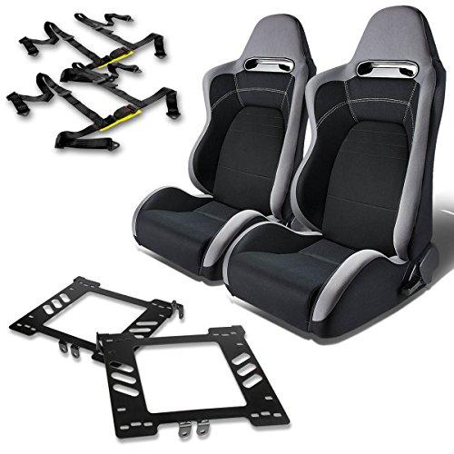 For VW Jetta/Golf/Beetle Mk4 Pair of T100 Type-R Racing Seats (Gray & Black)+Seat Bracket+4-Point Black - Seat Beetle Belt