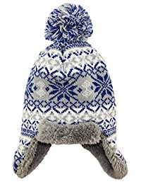 iXtreme Little Boys Sherpa Lined Winter Trapper Ear Flap Hat Fair Isle, Grey, Toddler Boys