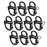 Fusion Climb Quick Release High Strength Snap Shackle 18KN Swedged Pull-Lock Mechanism Black 10-Pack