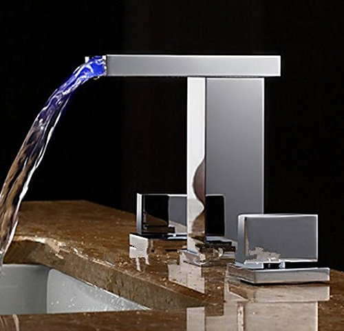 GOWE Two Handles LED Hydroelectric Waterfall Sink Faucet 1