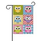 U Life Cute Owls Birds Plaid Tartan Garden Yard Flag Banner for Outside