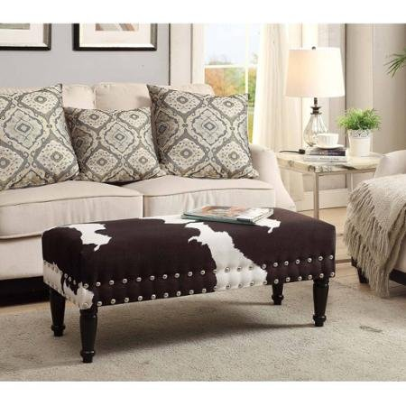 - Convenience Concepts Modern Designs 4Comfort Faux Cowhide Upholstery Piano Bench with Nailheads, Faux Cowhide