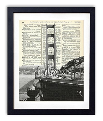 Golden Gate Bridge Black And White Upcycled Vintage Dictionary Art Print 8x10