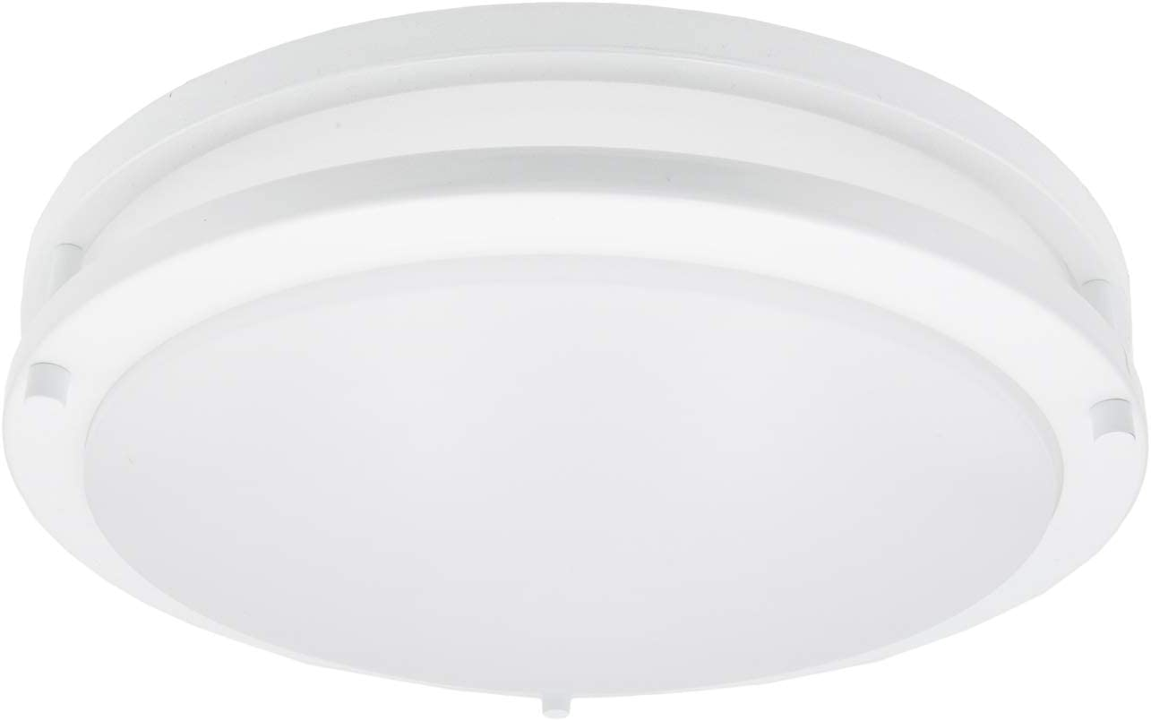 "Maxxima 14"" White LED Ceiling Mount Light Fixture - Warm White, 1650 Lumens Dimmable Flush Mount, 3000K"
