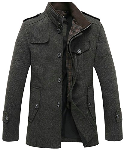 M&S&W Men's Thicken Single-Breasted Stand Collar Long Sleeve Wool Coats Khaki