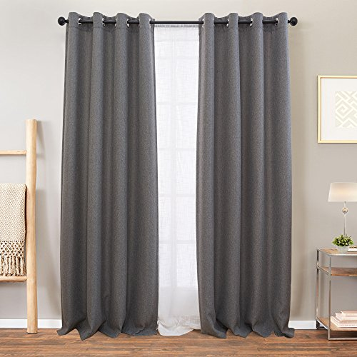 Grey Curtauns Linen Textured for Living Room Curtain 84 inch Length Drapes Room Darkening Window Panels Bedroom Charcoal Gray,1 Pair