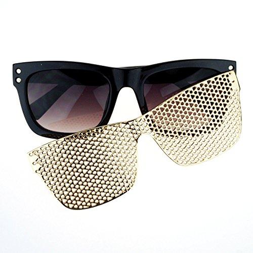 SA106 Detachable Gold Metal Mesh Magnetic Clipon Hip Hop Bling Shades - Detachable Sunglasses