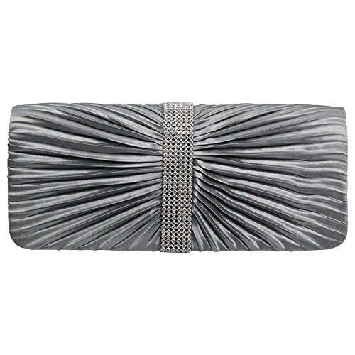 Wiwsi Elegant Pleated Satin Crystal Medallion Center Clutch Evening Handheld Bag