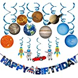 Solar System Hanging Decoration(15Pack),Konsait Universe Space Happy Birthday Banner Outer Space Whirls Hanging Swirl for Kids Solar System Party Decoration Space Themed Birthday Party Favor Supplies