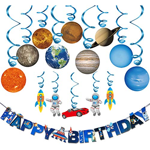 Solar System Hanging Decoration(15Pack),Konsait Universe Space Happy Birthday Banner Outer Space Whirls Hanging Swirl for Kids Solar System Party Decoration Space Themed Birthday Party Favor Supplies ()