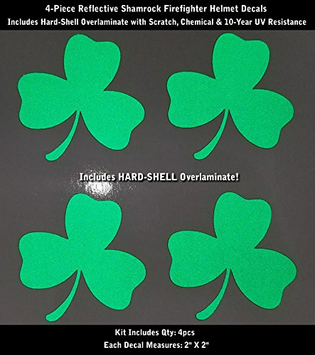 Reflective Green Clover Shamrock Decal Kit 4pcs IAFF Firefighter helmet 2