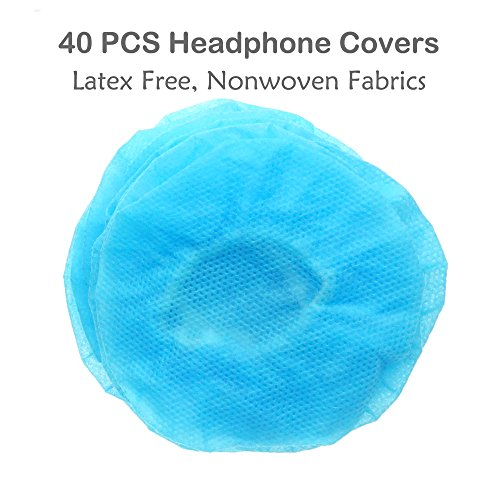 FoRapid 40 PCS/20 pairs Small Disposable Stretchable Sanitary Headphone Covers Earpiece Covers for Earmuff-style/On-Ear Headsets/ VR Headphone/VR Headset/ most standard-size headphones&headsets-Blue