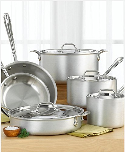 All-Clad 700362 MC2 Professional Master Chef 2 Stainless Steel Tri-Ply Bonded Oven Safe PFOA Free Cookware Set, 10-Piece, Silver