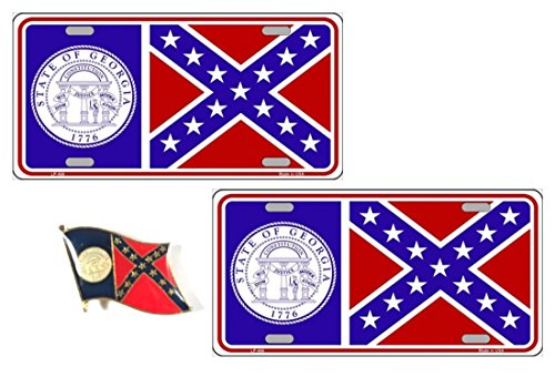 PACK OF 2 Old Georgia Flag License Plates, 1956 Georgia Flag Auto Tag Includes a FREE Old Georgia Flag Lapel Pin - MADE IN THE USA (Dome Lapel Pin)