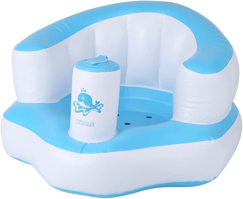 Zerodis Cute Children Inflatable Chair Couch Built in Pump Bath Seat Portable Baby Play Sofa Wonderful Gift for Kids Blue