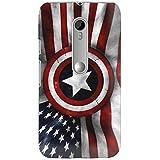 Clapcart Captain America Shield Flag Printed Mobile Back Cover for Moto G 3rd Gen / Moto G3 -Multicolor
