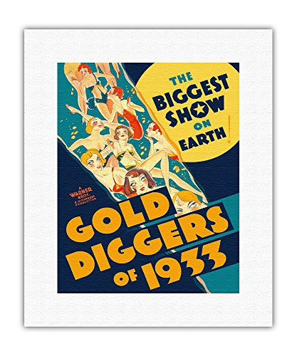 (Gold Diggers of 1933 - The Biggest Show on Earth - Musical Starring Warren William and Joan Blondell - Vintage Film Movie Poster c.1933 - Fine Art Rolled Canvas Print - 11in x 14in)