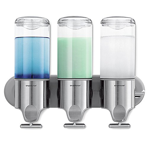 simplehuman Triple Wall Mount Shower Pump, 3 x 15 fl. oz. Shampoo and Soap Dispensers, Stainless Steel