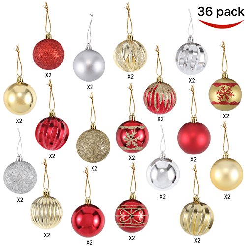 """Joiedomi 36 Collectable Ball Ornaments Set for Christmas Tree Decoration Red and Gold with 18 Designs (60 mm, 2.36"""")"""