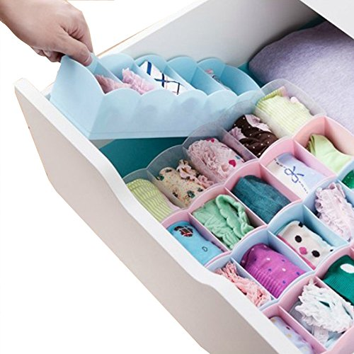 Ieasycan 5 Grid Storage Drawer Closet Dresser Cube Basket Organizer Bins for Underwear Socks