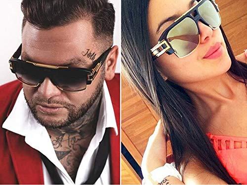 85e48494e39 Allt Square Aviator Large Fashion Sunglasses For Men Women Goggle Alloy  Frame Glasses (Black Gold