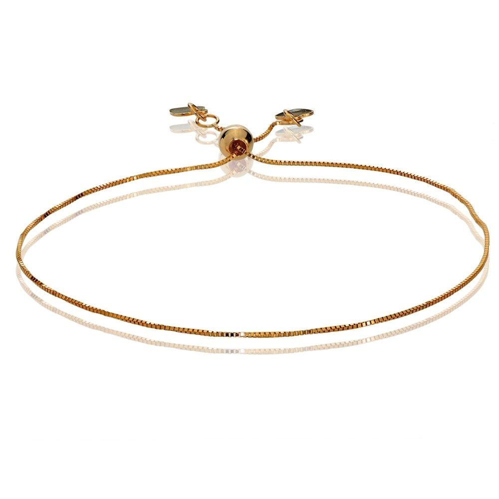 Bria Lou 14k Rose Gold .6mm Italian Box Adjustable Chain Bracelet, 7-9 Inches